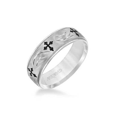 7MM Men's Wedding Band - Brush Finish with Black Antiqued Cross and Wheat Design Center and Round Edge