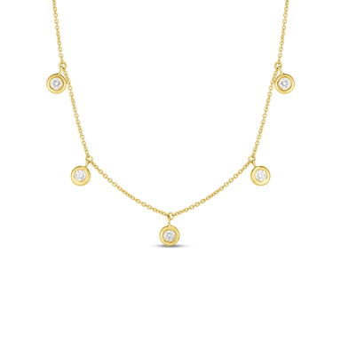 18K FIVE DIAMOND DROP STATION NECKLACE