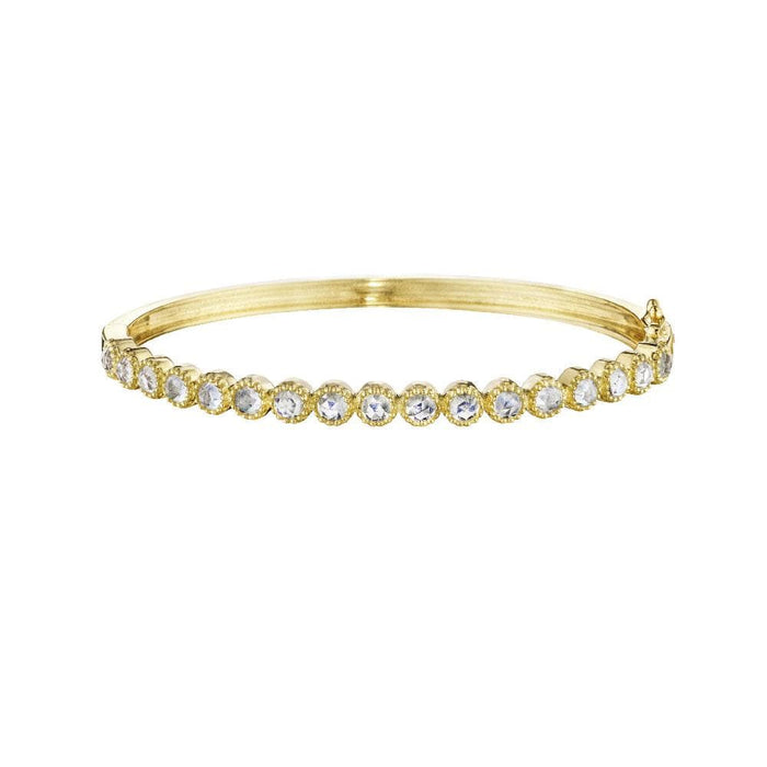 18K Yellow Gold Moonstone Rose Cut Rounds Bangle