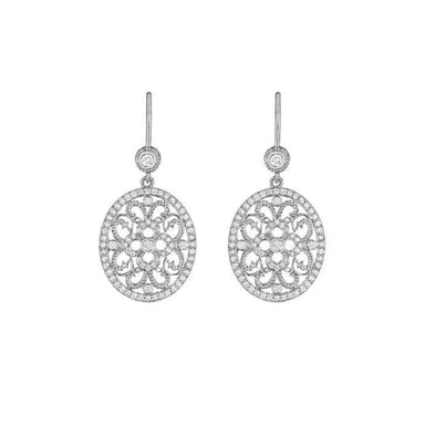 PAVÉ DIAMOND OVAL LACE DROP EARRINGS