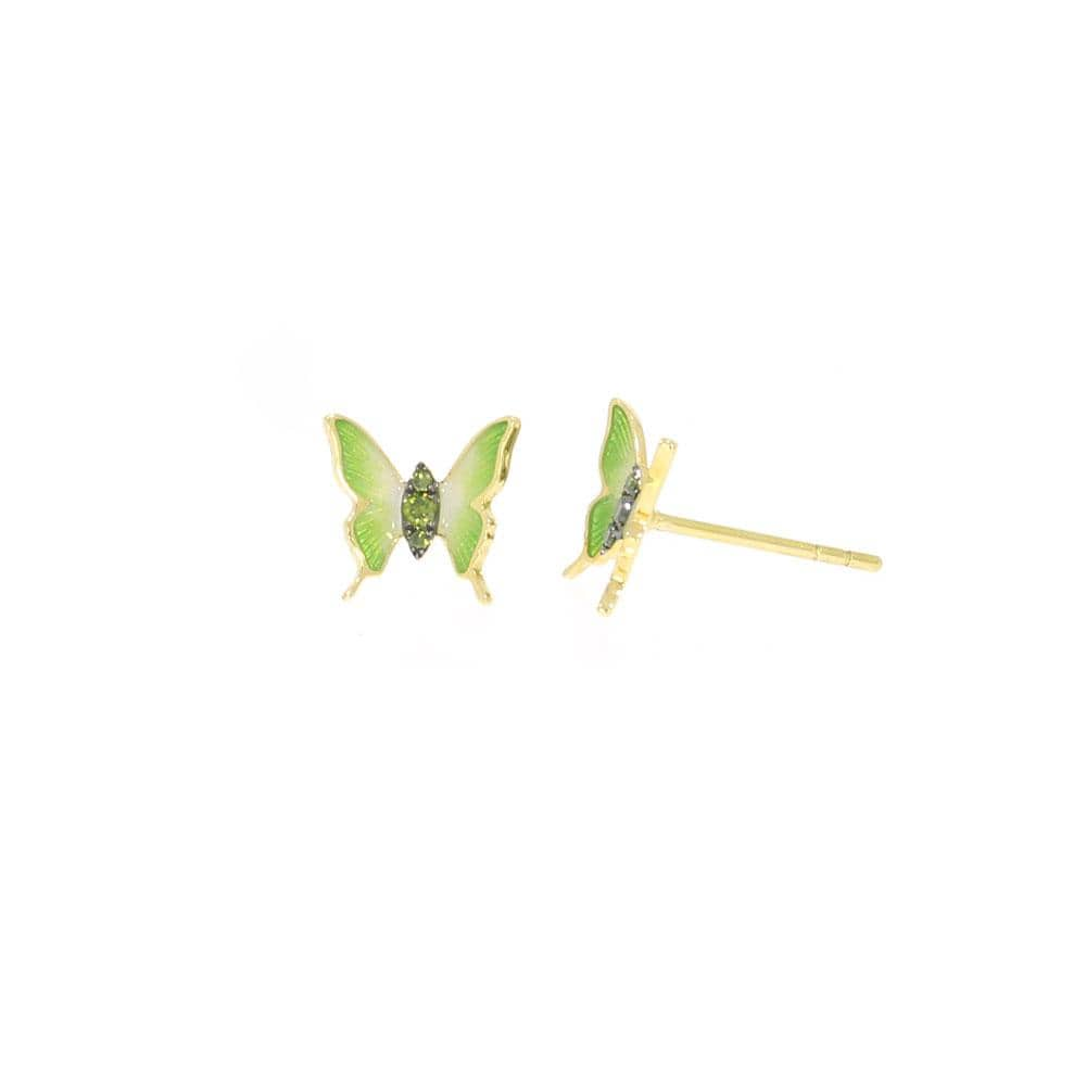 Green Diamond Butterfly Earrings