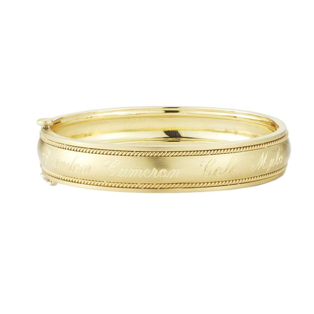 WIDE ENGRAVABLE BANGLE W/ ROPED EDGES