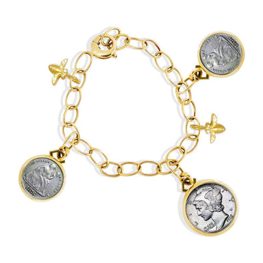 18K Yellow Gold Coin, Butterfly & Bee Bracelet