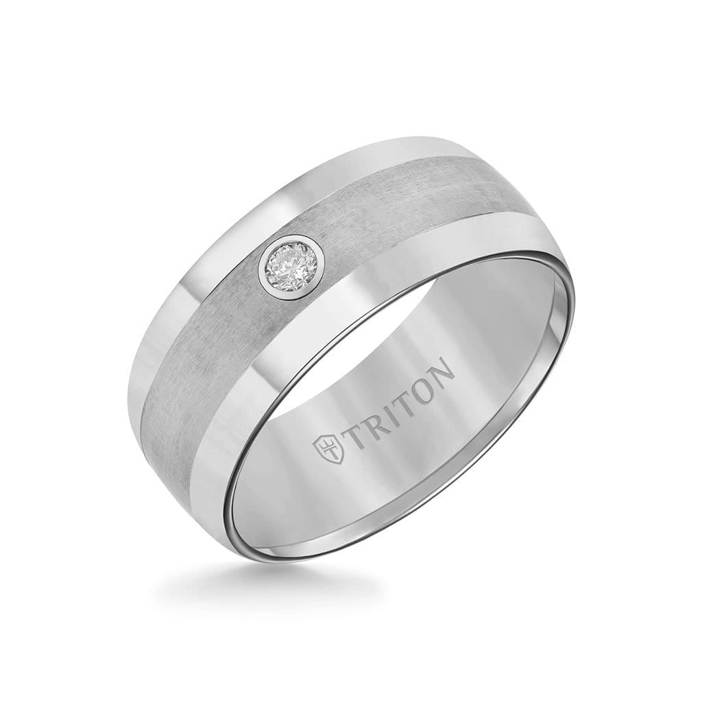 9MM Tungsten Diamond Ring - Solitaire Domed Satin Center and Bevel Edge