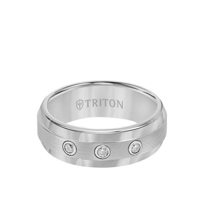 8MM Tungsten Diamond Ring - 3 Stone Brushed Finish Center and Step Edge