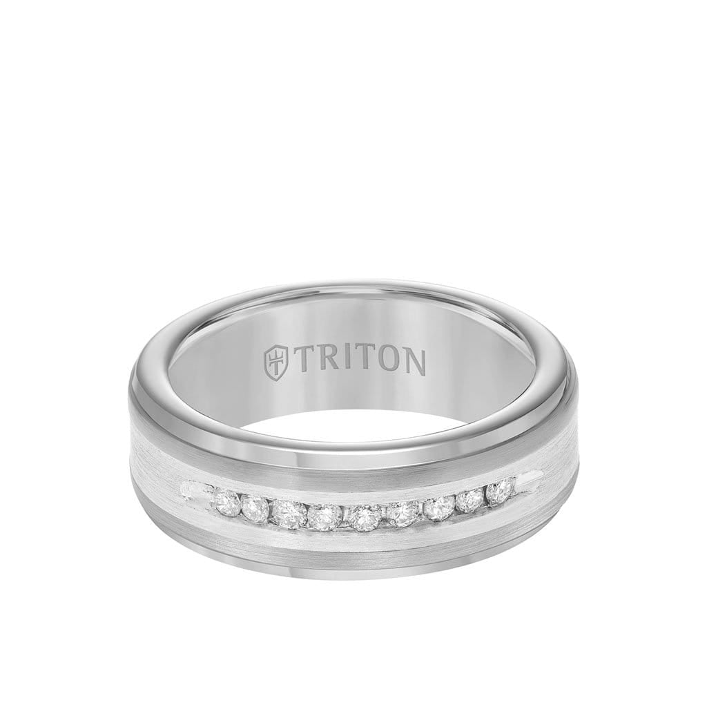 8MM Tungsten Diamond Ring - Channel Set Silver Satin Finish and Step Edge