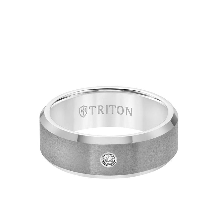 8MM Tungsten Diamond Ring - Solitaire Satin Finish Center and Bevel Edge