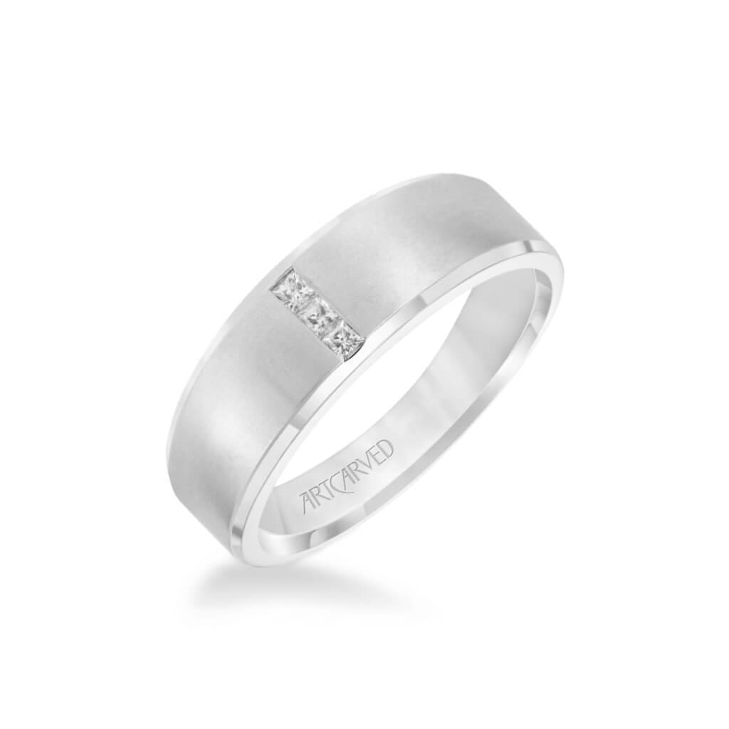 7MM Men's Contemporary Three Stone Diamond Wedding Band - Brush Finish and Step Edge
