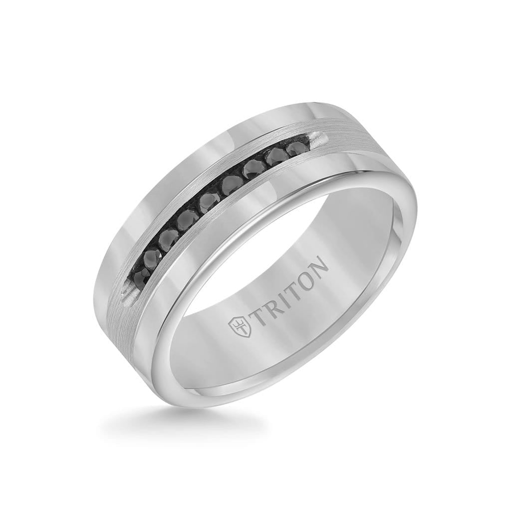 8MM Ring - Channel Set 1/4 ct Black Diamonds Silver Satin Finish and Round Edge