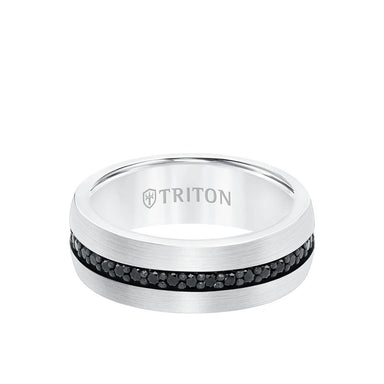8MM Ring - Black Sapphire Eternity and Round Edge