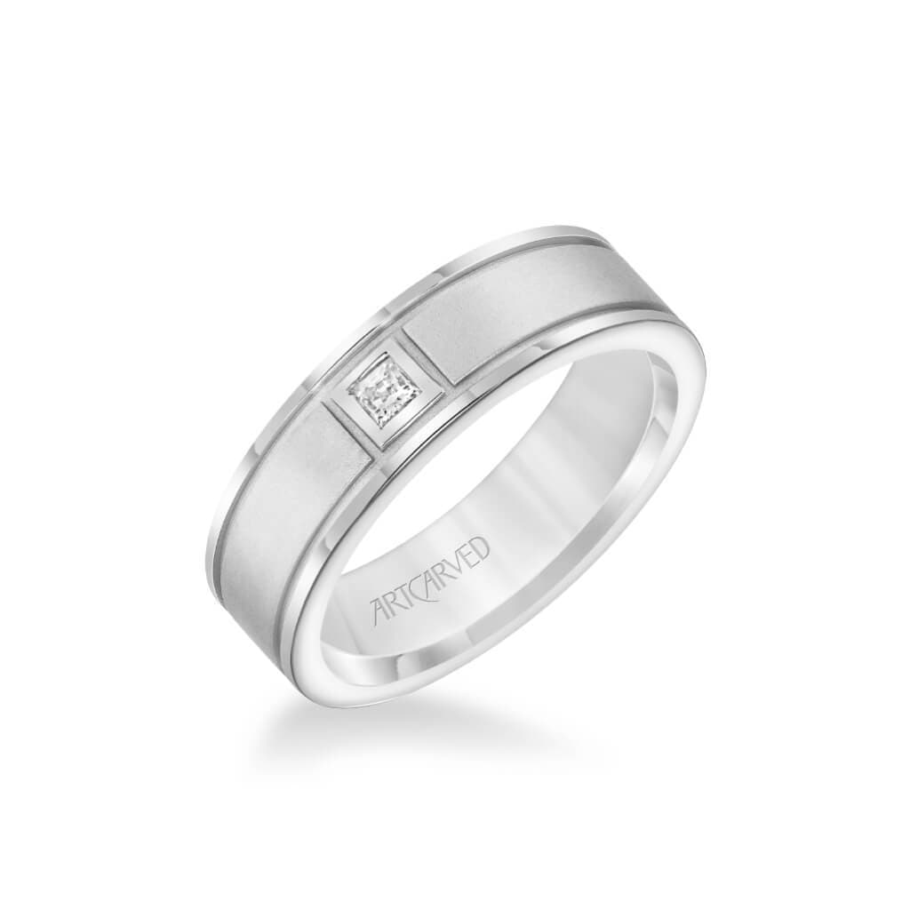 6.5MM Men's Classic Single Stone Diamond Wedding Band -  Textured Finish and Rolled Edge