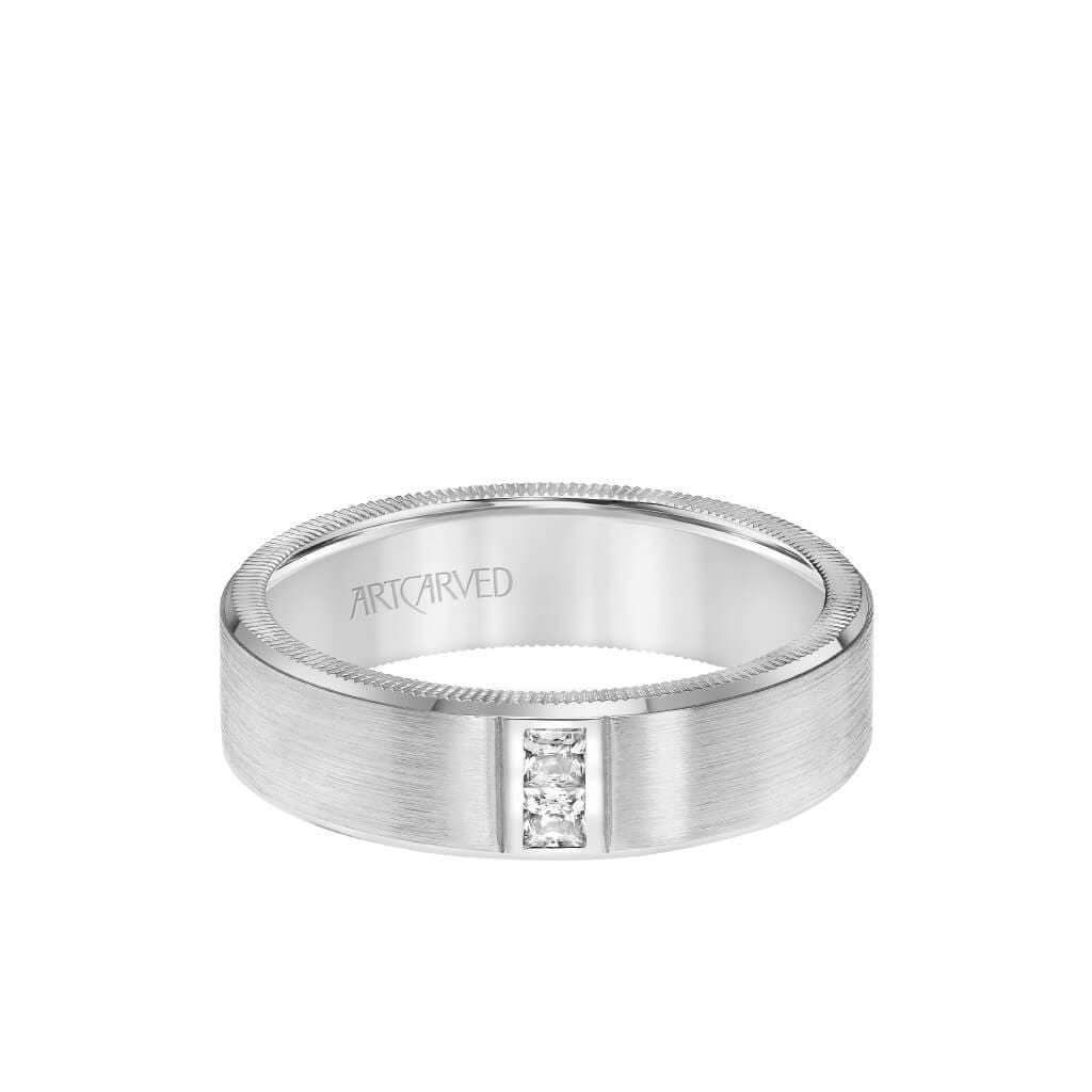 6MM Men's Contemporary Two Stone Diamond Wedding Band -  Satin Finish and Bevel, Coin Edge
