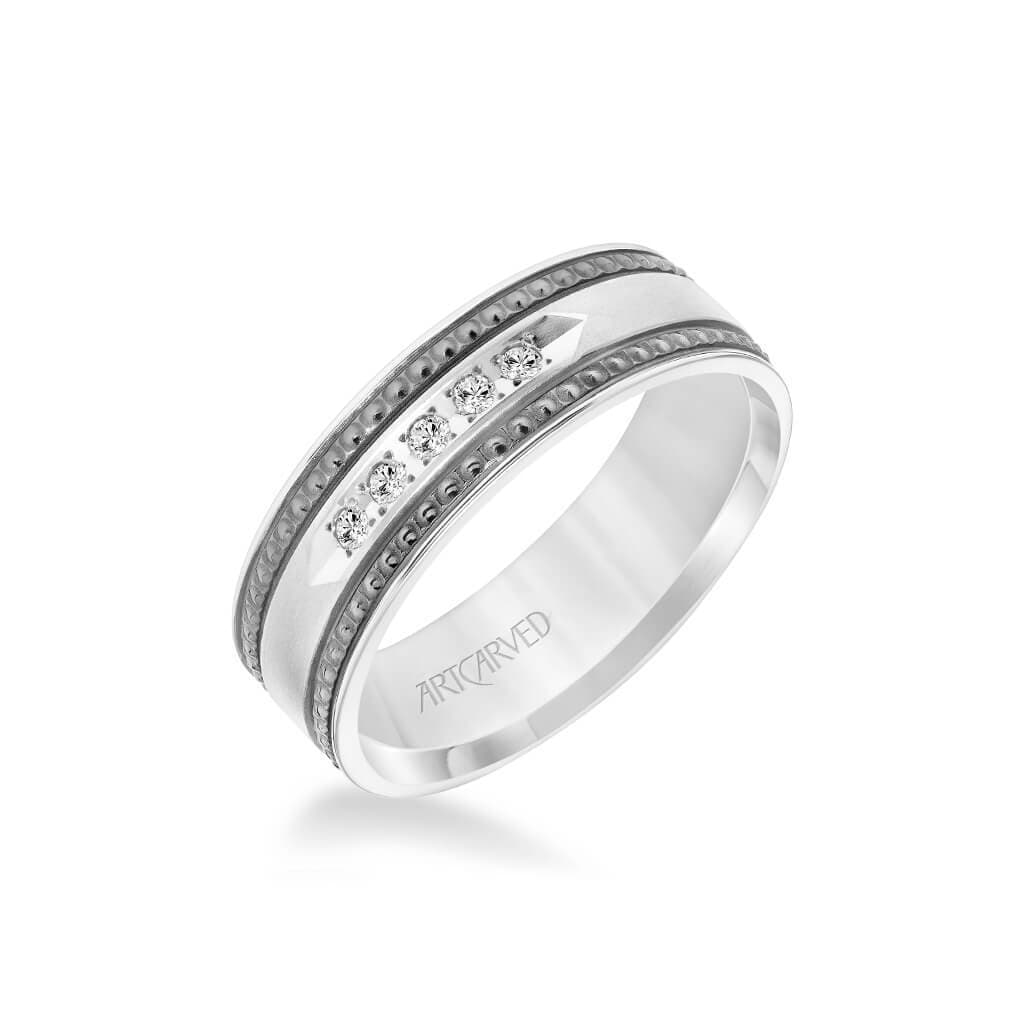 7MM Shades of Grey Collection Five Stone Diamond Wedding Band - Textured Black Rhodium Detail and Flat Edge