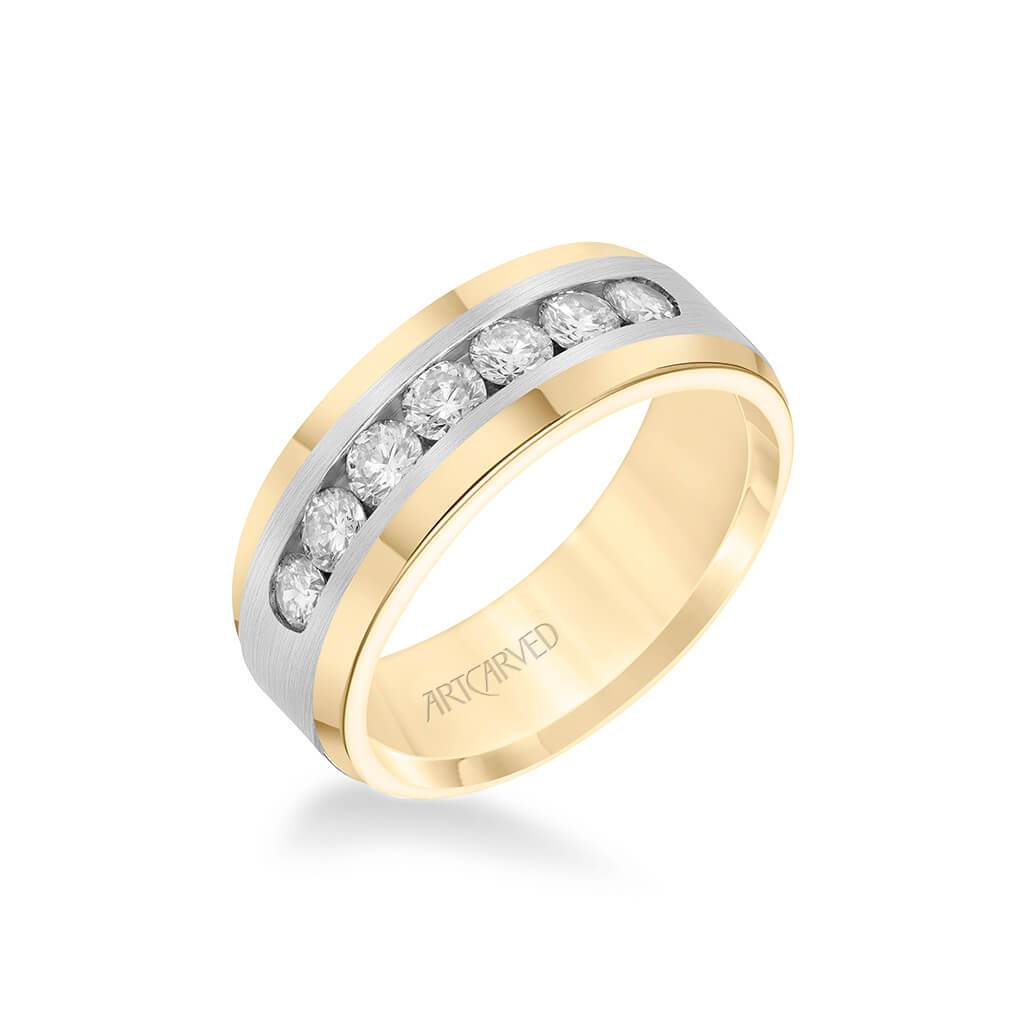 8MM Men's Wedding Band - Channel Set Diamonds and Bevel Edge