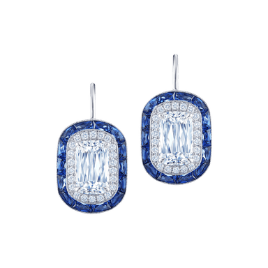 Ashoka Diamond Drop Earrings with Sapphire Halos