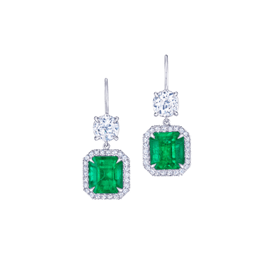 Columbian Emerald Old Mine and Diamond Silhouette Drop Earrings