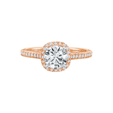 New Aire Petite Cushion Halo Diamond Semi Mount Ring