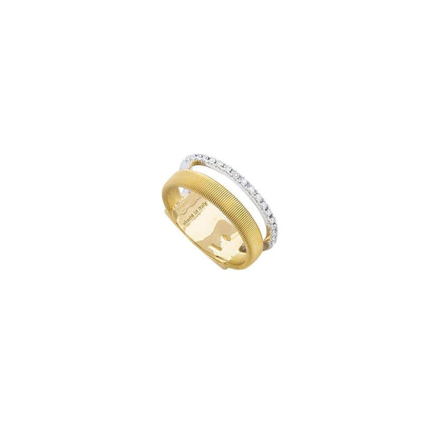 18K Yellow & White Gold Two Row Pave Diamond Ring