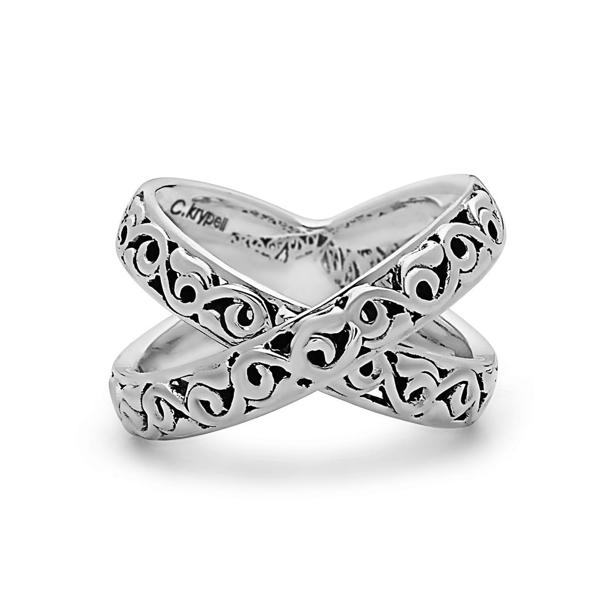 "Sterling Silver ""X"" Ivy Ring"