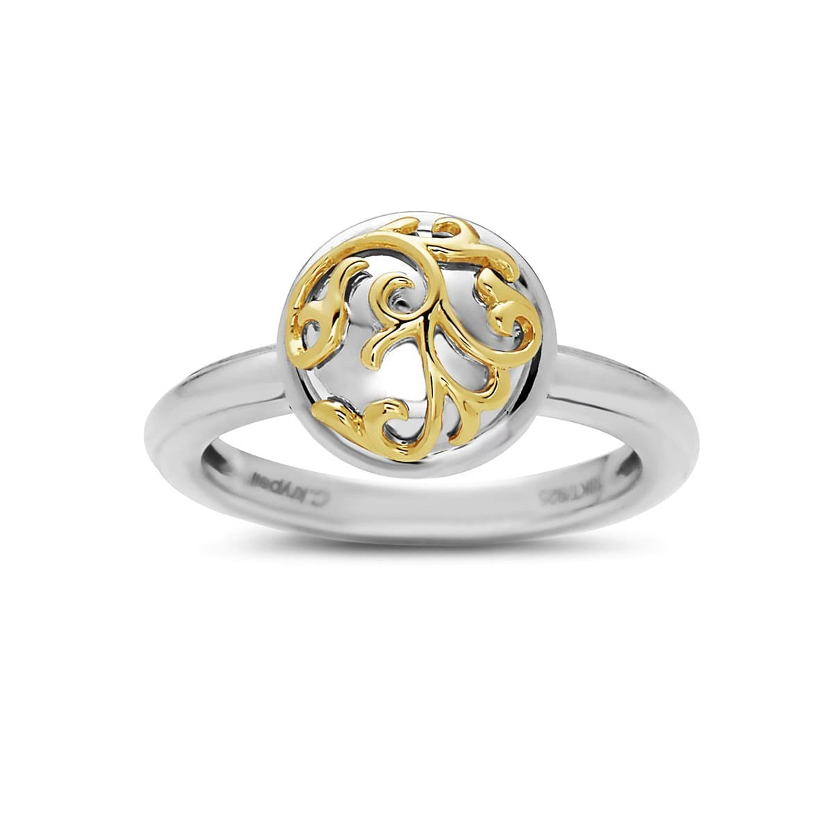 18K Yellow Gold & Sterling Silver Ivy Lace Ring