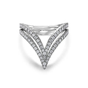 "18K White Gold Diamond ""V"" Ring"