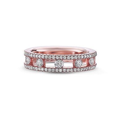 18K Rose Gold Diamond Single Row Band