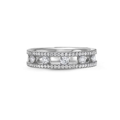 18K White Gold Single Row Band