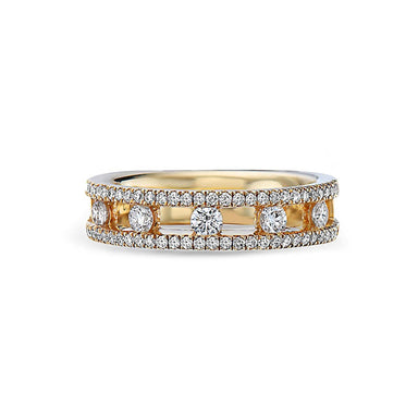 18K Yellow Gold Single Row Band