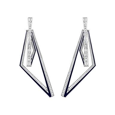 Diamond Vertigo Obtuse Hoops W/Dark Blue Enamel Accents