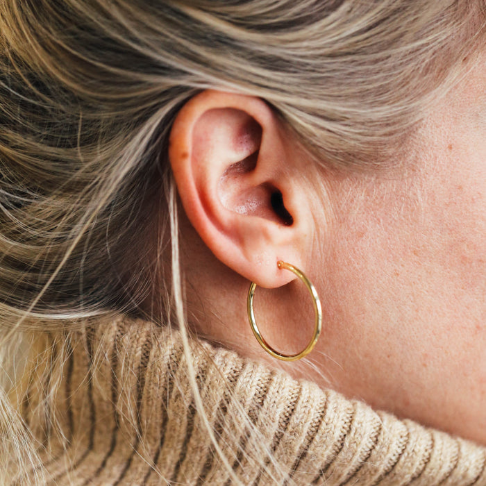 14K Yellow Gold Polished Hoops (30mm)