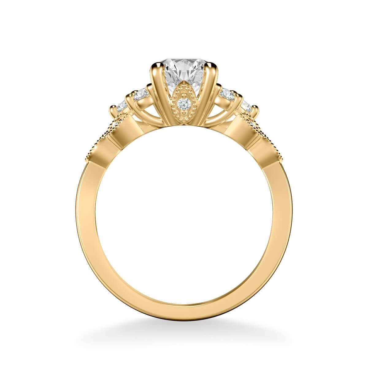 Adeline Contemporary Side Stone Floral Diamond Engagement Ring