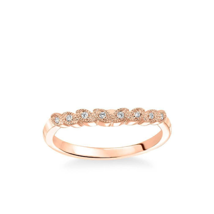 Adeline Contemporary Diamond and Milgrain Floral Wedding Band