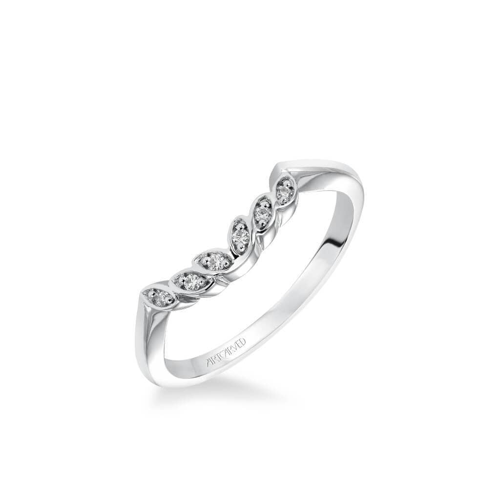 Corinne Contemporary Diamond Petal and Polished Curved Wedding Band