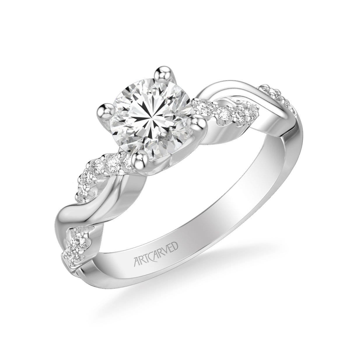 Gabriella Contemporary Side Stone Twist Diamond Engagement Ring