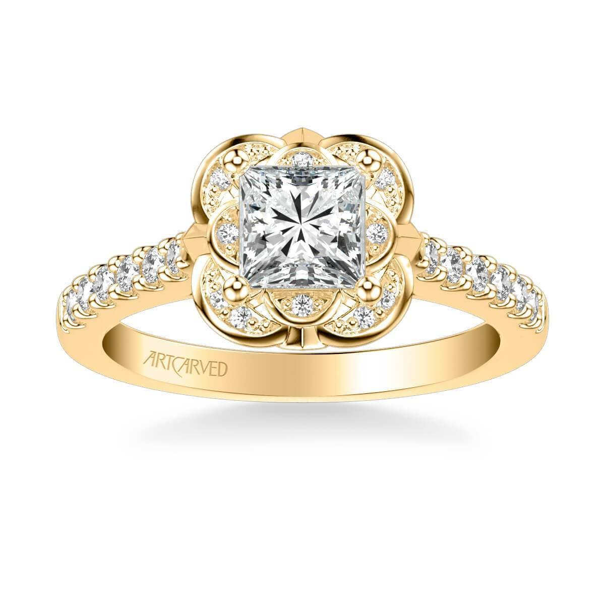 Skyler Contemporary Floral Halo Diamond Engagement Ring