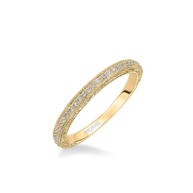 Gretchen Vintage Diamond and Milgrain Engraved Wedding Band