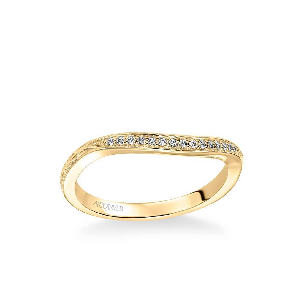 Farrah Vintage Diamond Engraved Wedding Band