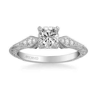 Angel Vintage Side Stone Diamond Engagement Ring