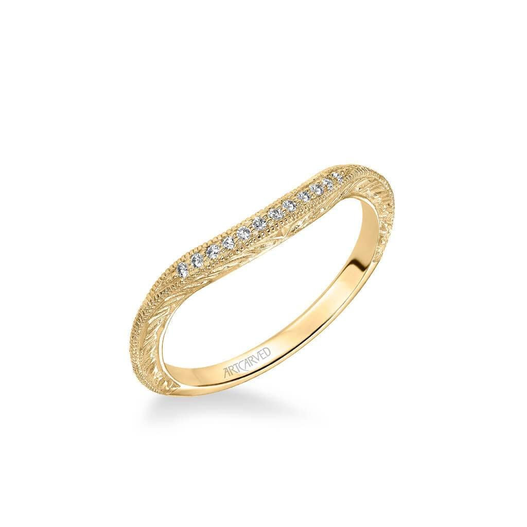 Angel Vintage Diamond and Milgrain Engraved Wedding Band
