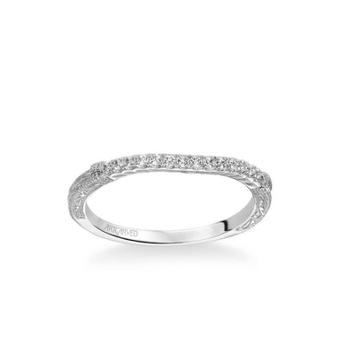 Angelina Vintage Diamond and Milgrain Engraved Wedding Band