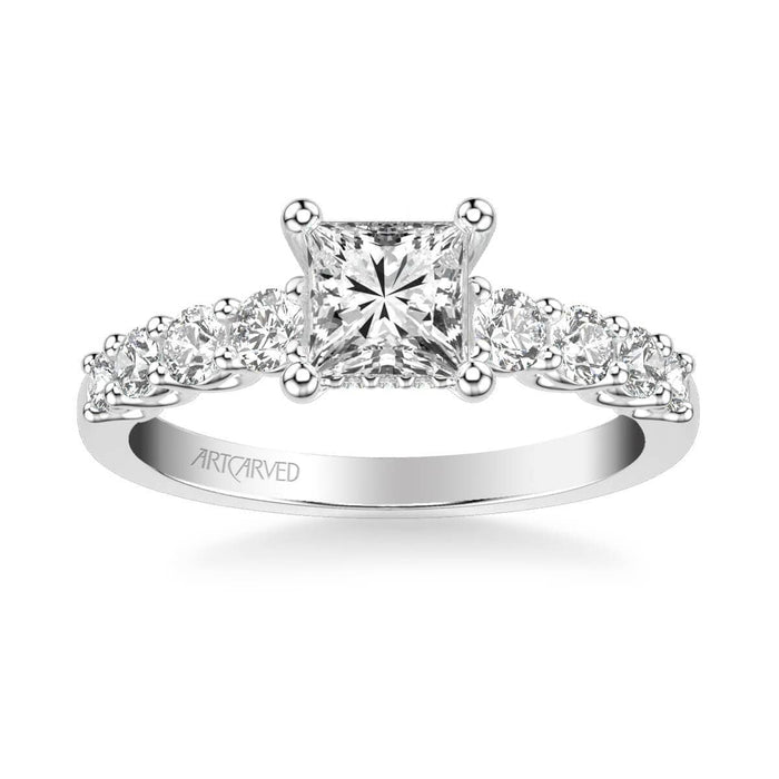 Leandra Classic Side Stone Diamond Engagement Ring