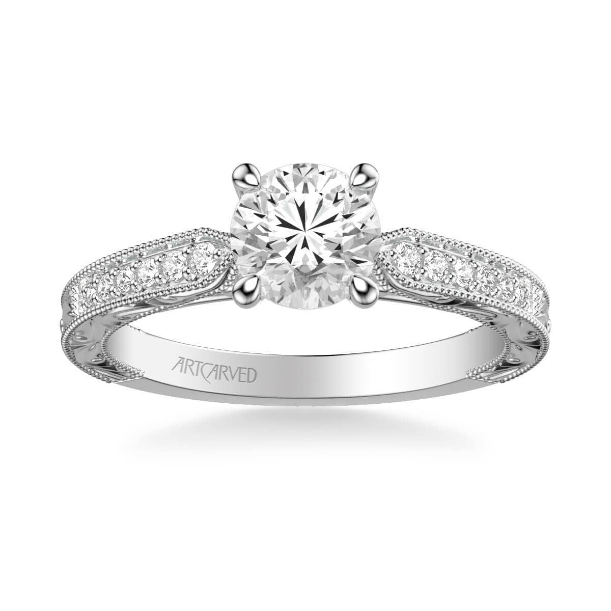 Julie Vintage Side Stone Diamond Engagement Ring
