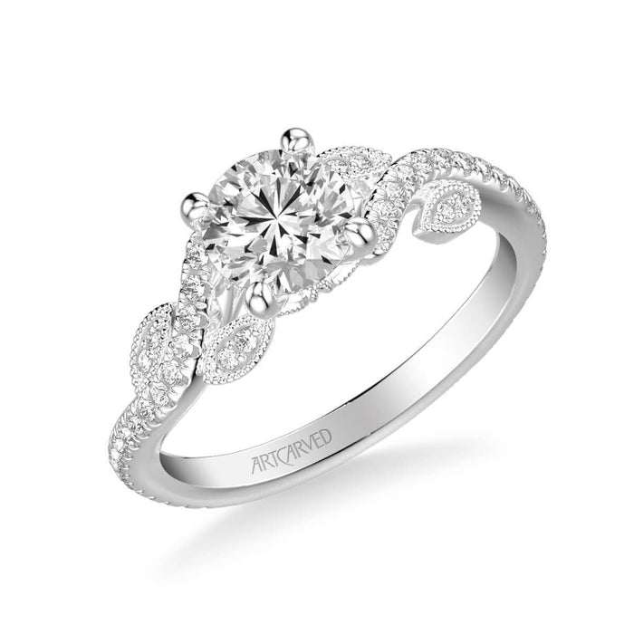 Milena Contemporary Side Stone Floral Diamond Engagement Ring