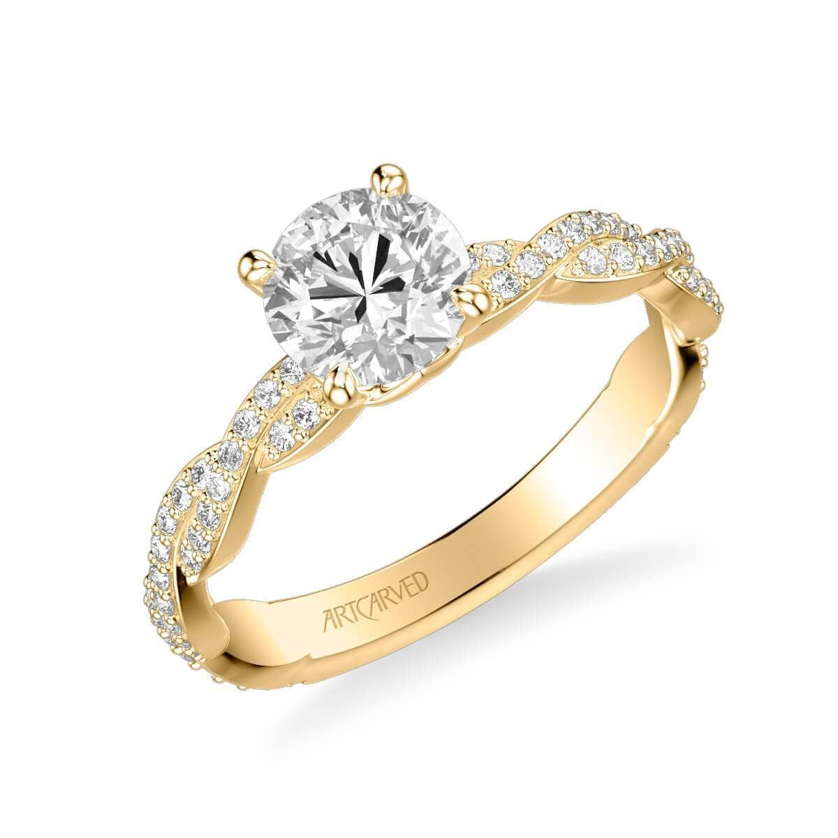 Madeleine Contemporary Side Stone Twist Diamond Engagement Ring