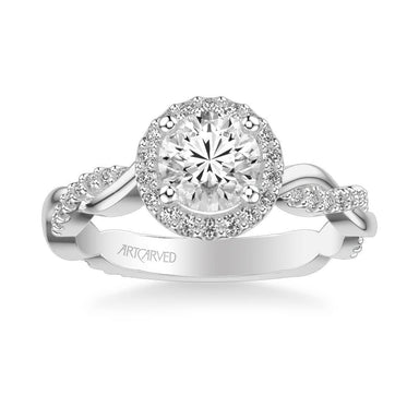 Kinsley Contemporary Round Halo Twist  Diamond Engagement Ring