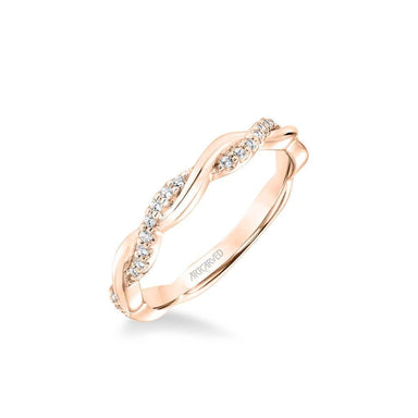 Marnie Contemporary Half Diamond Half Polished Twist Wedding Band