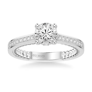Keira Contemporary Side Stone Rope Diamond Engagement Ring