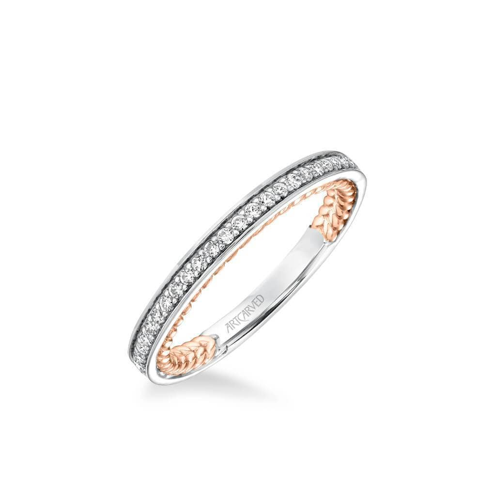 Keira Contemporary Diamond and Rope Wedding Band