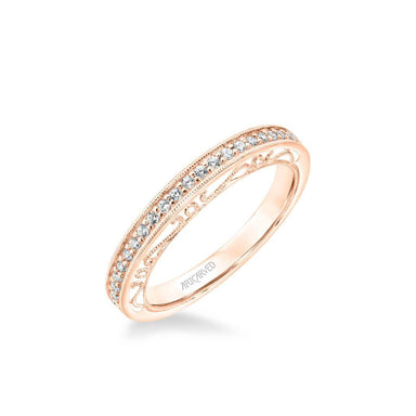Indra Vintage Heritage Collection Diamond and Milgrain Filigree Scrollwork Wedding Band