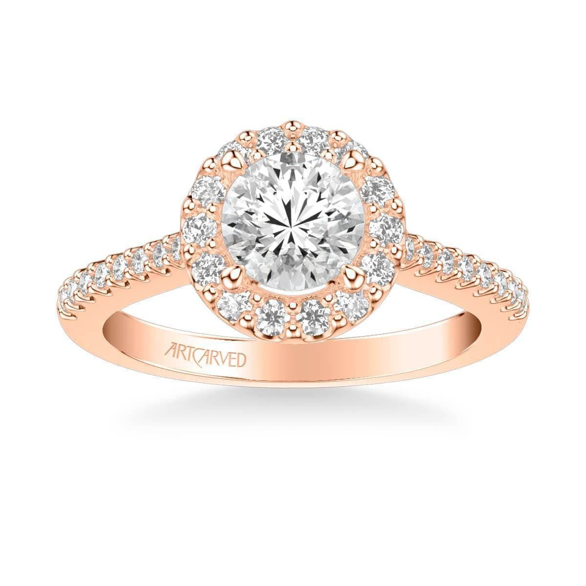 Judith Classic Round Halo Diamond Engagement Ring